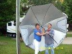 Diana & Ash with repaired umbrella