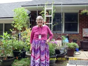 Lorraine in her backyard garden.