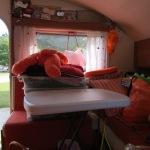 From open side window toward the door and opposite side of trailer
