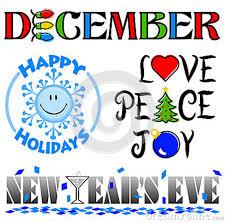 December calendar with Love, Peace, Joy