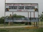 Cowboy Camp Meeting sign