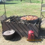 Food over open fire