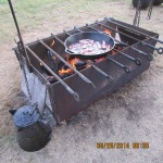 Bacon frying on open fire