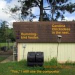 Composter, bird house & Hummingbird feeder