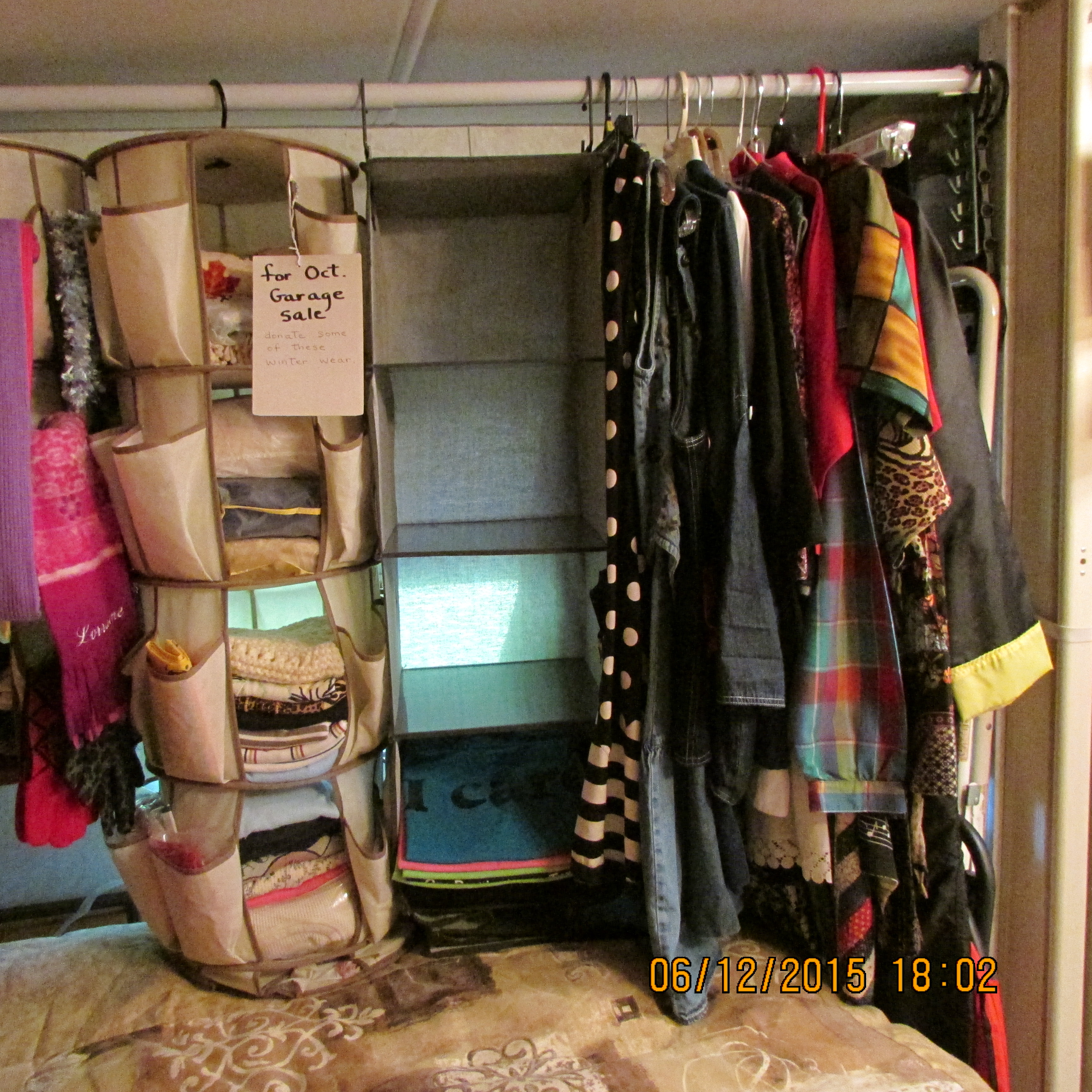 Clothes Added To Pole. Small Closet