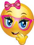 Smiley face girl with pink glasses