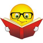 Smiley face with book
