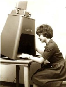 Microfilm reader with lady