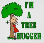 Tree hugger with stick figure