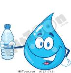 Water bottle with water drop happy face