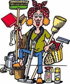 Woman with cleaning items