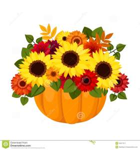 Fall flowers in pumpkin