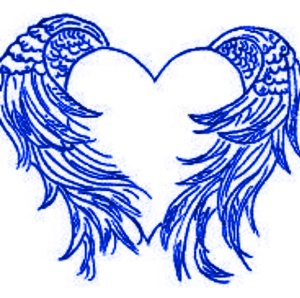 Guardian angel wings wrapped around a heart