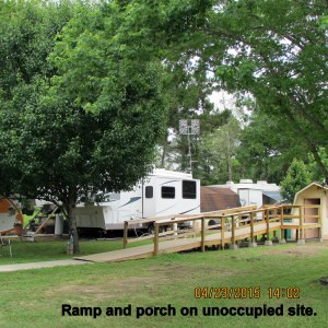 Ramp and porch on unoccupied site