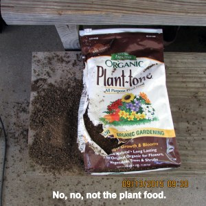Plant food package vandalized