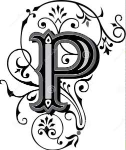 Alphabet letter P in black and white scroll