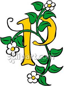 Alphabet letter P with leaves and flowers
