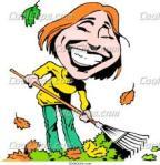 Cartoon lady raking leaves