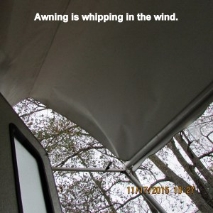 Awning is whipping in the wind
