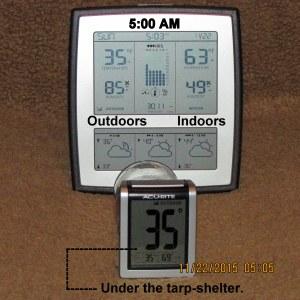 Temperature at five AM