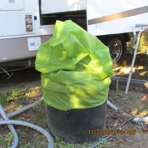 Protective bag over planter