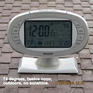 Temperature at twelve noon
