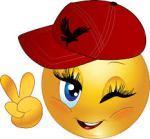 Smiley face female with baseball cap