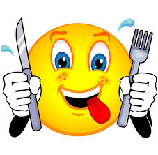 Smiley face with knife and fork