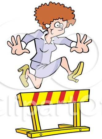 Woman leaping over barrier