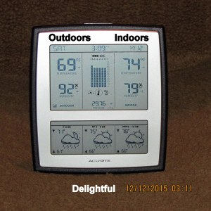 Indoor and outdoor temperature at three