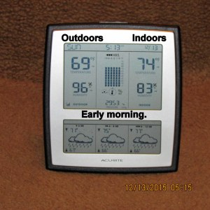 Indoor and outdoor temperature at five