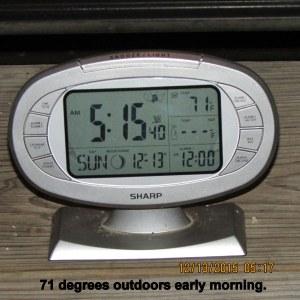 Outdoor temperature at five