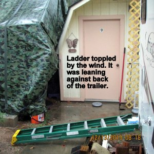Ladder was toppled