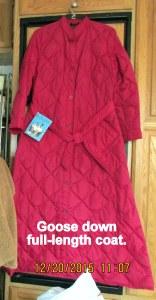 Goose down coat