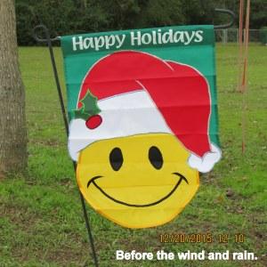 Smiley face garden flag