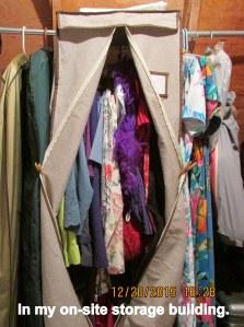 Garment bag in storage building