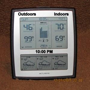 Temperature at ten PM