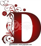 Letter D red with scroll