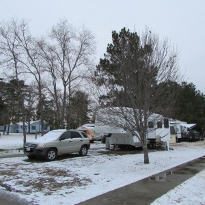 Snow on my KIA and trailer home