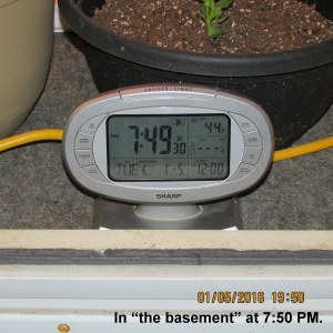 Temperature in the basement at seven-fifty PM