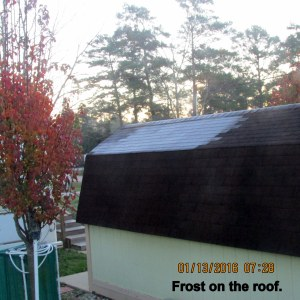 Frost on roof at seven-thrty