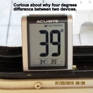 Temperature under tarp according to monitor thermometer