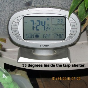 Temperature under tarp shelter