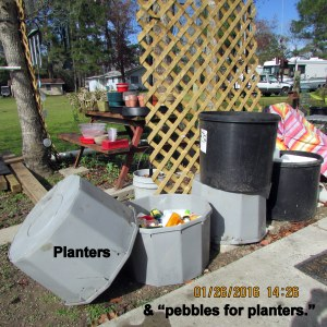 Five large planters