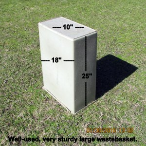 Old waste basket with dimensions