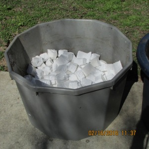 Styrofoam in bottom of container
