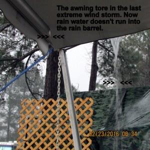 Torn awning