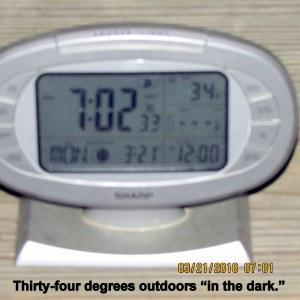 Outdoor temperature at seven