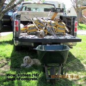 Sixteen bags of concrete
