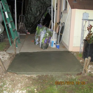 Flash picture of concrete pad